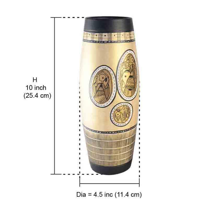 Moorni Terracotta Handpainted Madhubani Vase Dholak Natural White 10 Inch