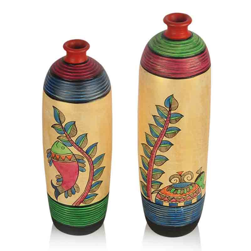 Moorni  Madhubani Handpainted Bottle Shape Terracotta Vase Set