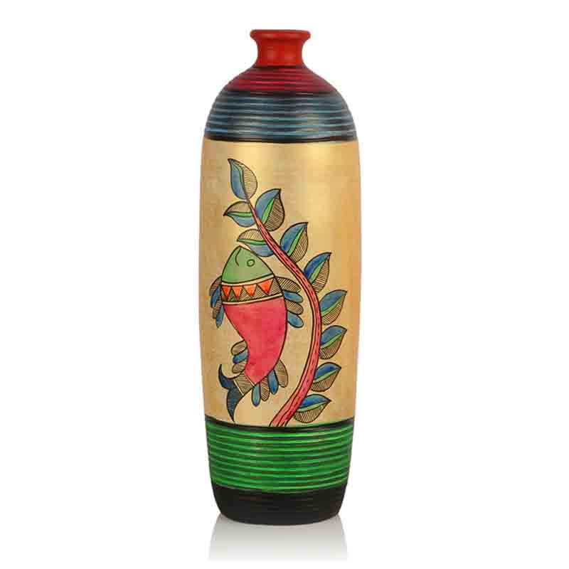 Moorni Handpainted Terracotta Vase Set Madhubani Bottle Shape - EL-006-056