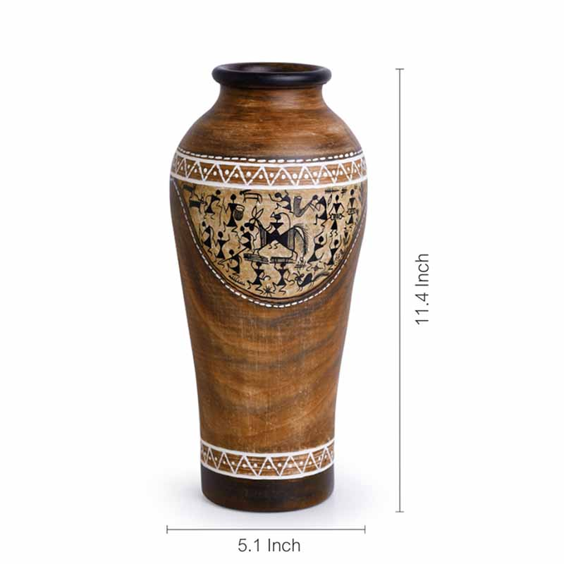 Moorni 11 Inch Warli Hand-Painted Urn Shaped Vase In Terracotta - EL-006-067