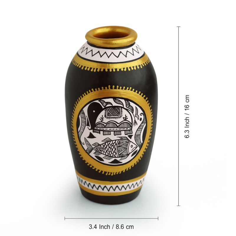 Moorni Long & Tapered Vase With Intricate Madhubani Hand-Painting In Terracotta (6 Inches)
