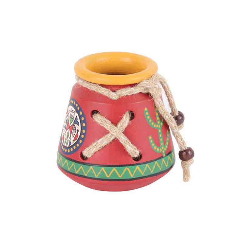 Moorni Terracotta Warli Handpainted Pen Stand Knitted Red