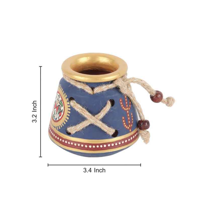 Moorni Terracotta Warli Handpainted Pen Stand Knitted Blue