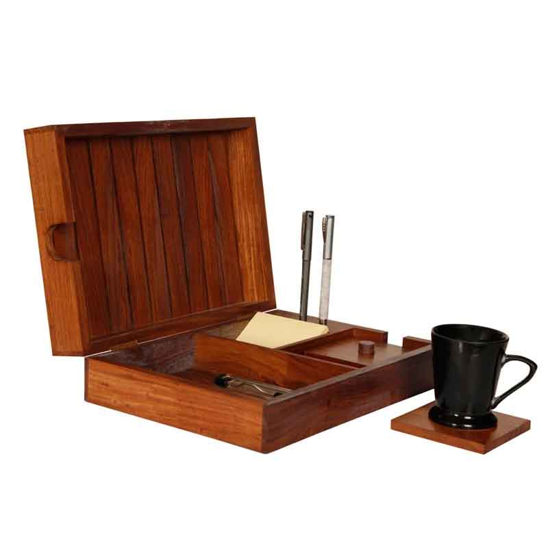 Moorni Table Top Organiser in Sheesham Wood