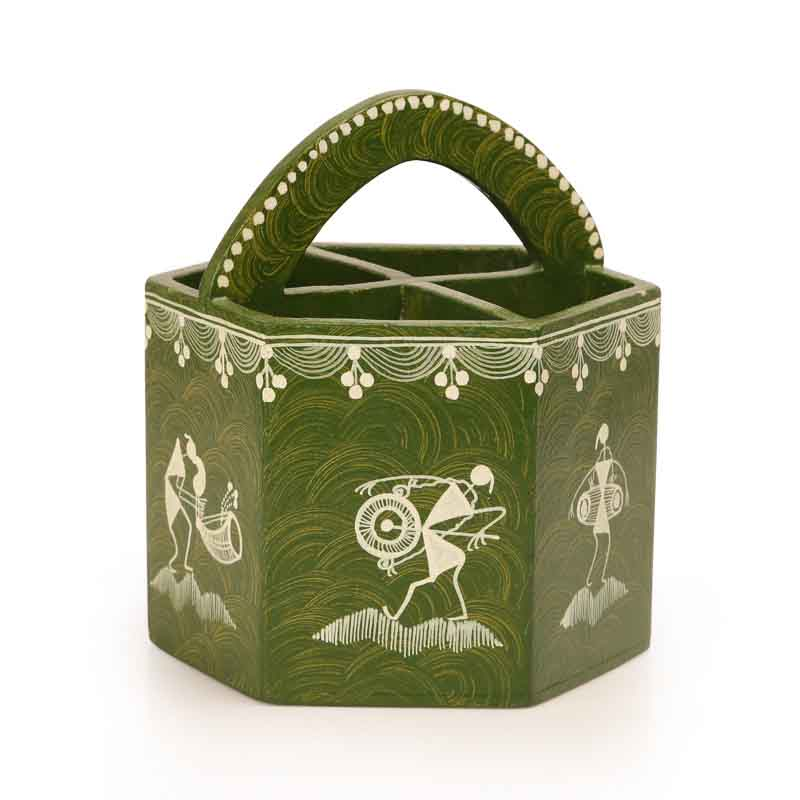 Moorni Warli Handpainted Wooden Cutlery Cum Stationery Holder in Green