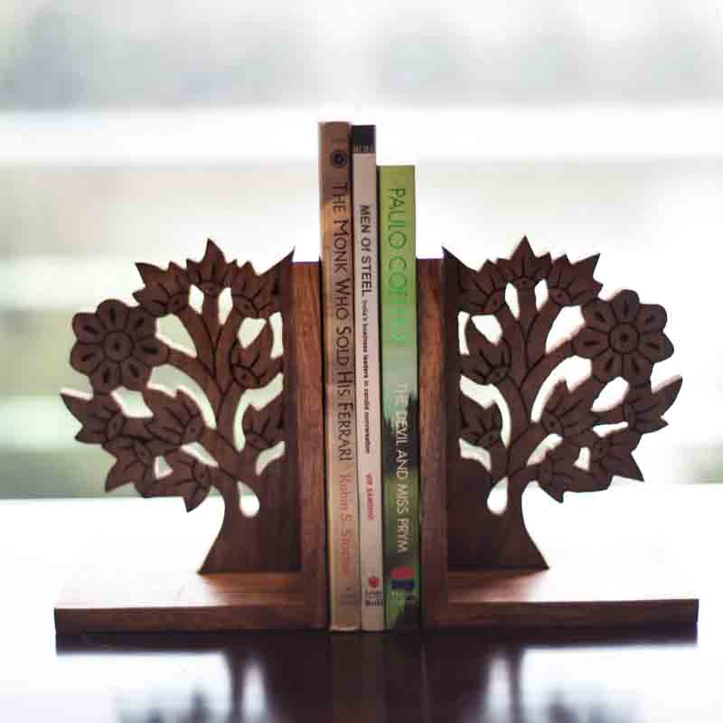 Moorni  Wooden Engraved & Carved Tree Of Life Book End
