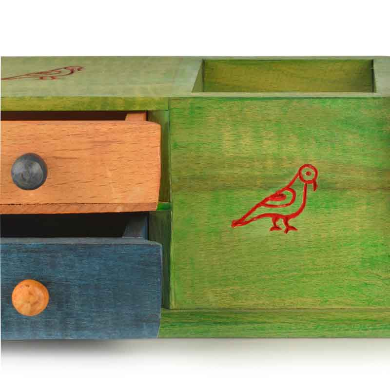 Moorni Multicoloured Wooden Parrot Table Organiser