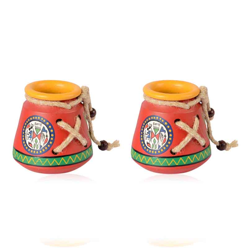 Moorni Terracotta Warli Handpainted Pen Stand Set of 2