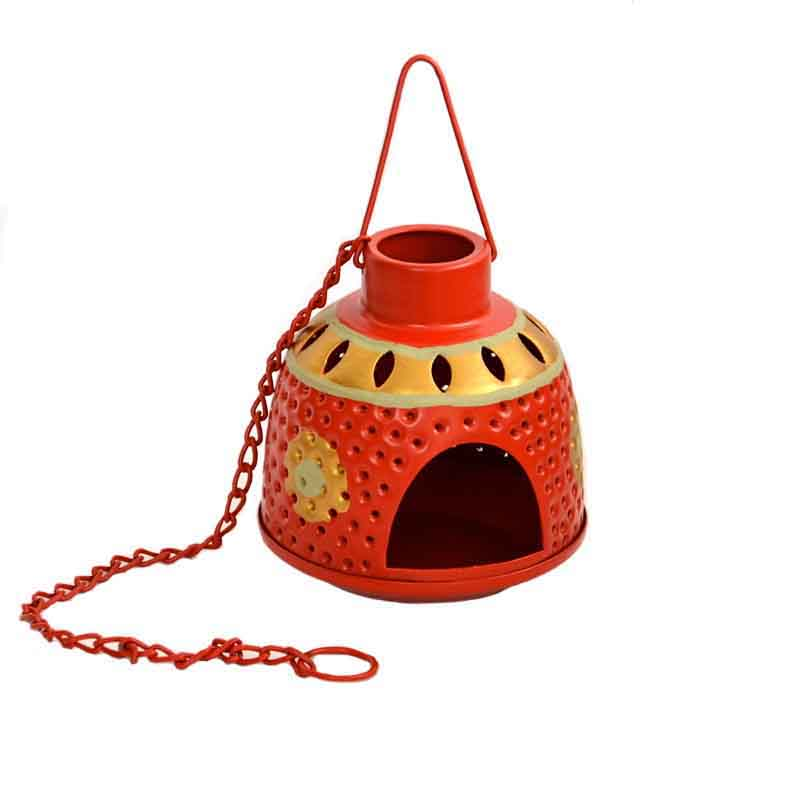 Moorni Handpainted Metal Hanging Tea Light Red