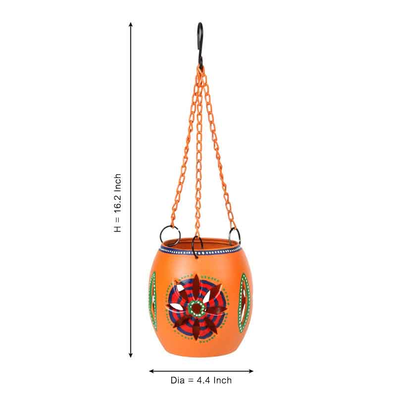 Moorni Handpainted Metal Hanging Tea Light Orange
