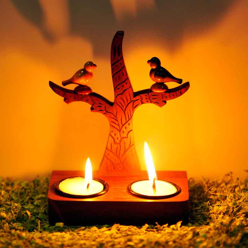 Moorni Tree of Life Wall Cum Table Tealight with Parrots Sitting On It
