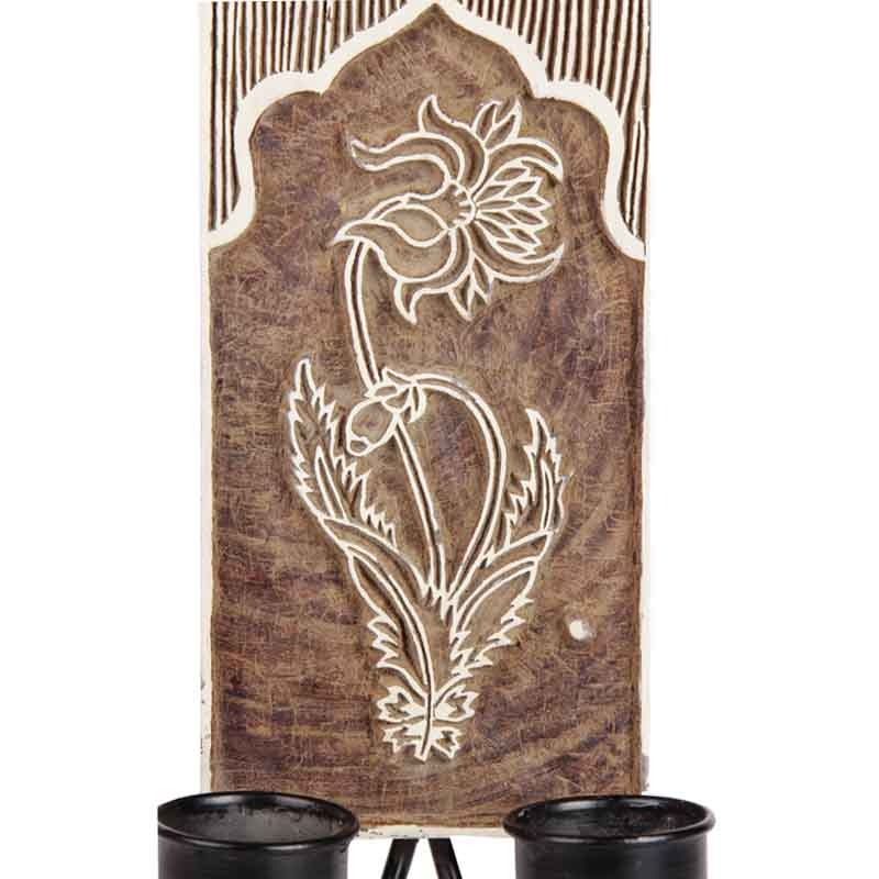 Moorni Wooden Carved Wall Hanging Tealight Holder