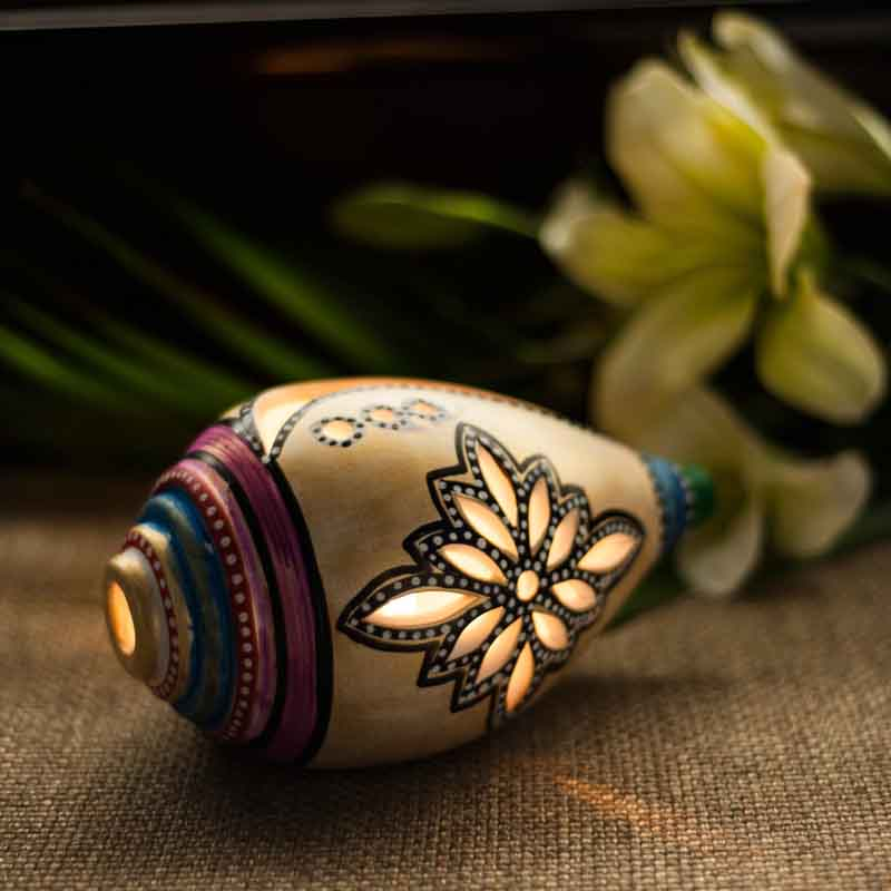 Moorni Shankh Shaped Terracotta Handpainted Tea Light Holder (EL-008-049)