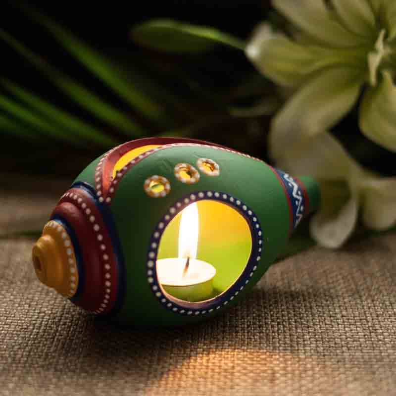 Moorni  Shankh Shaped Terracotta Handpainted Tea Light Holder Green (EL-008-050)
