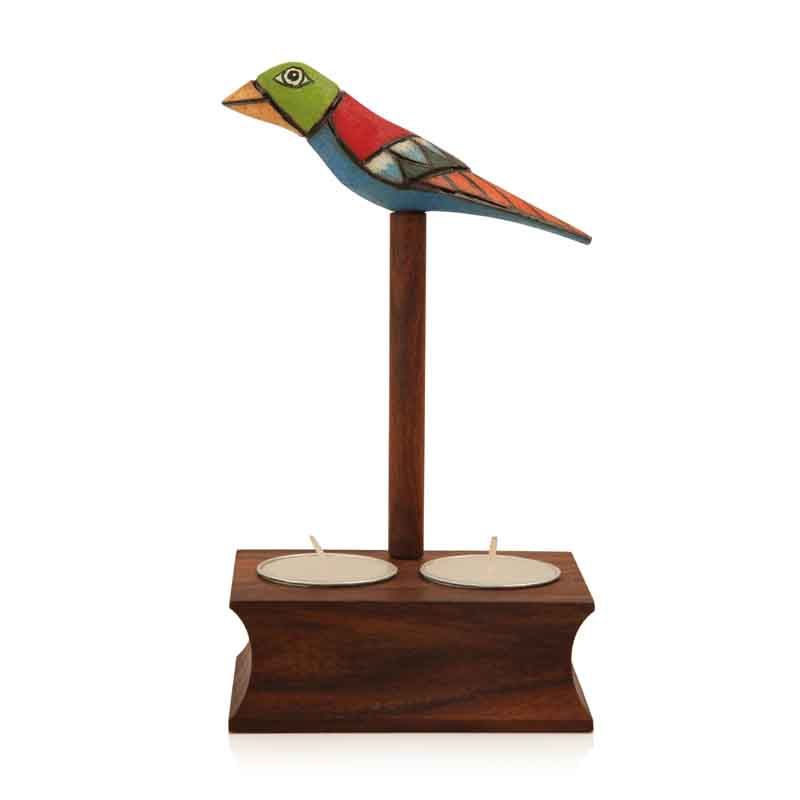 Moorni Bird Collection Cuboidal Brown Tea Light Holder in Sheesham Wood
