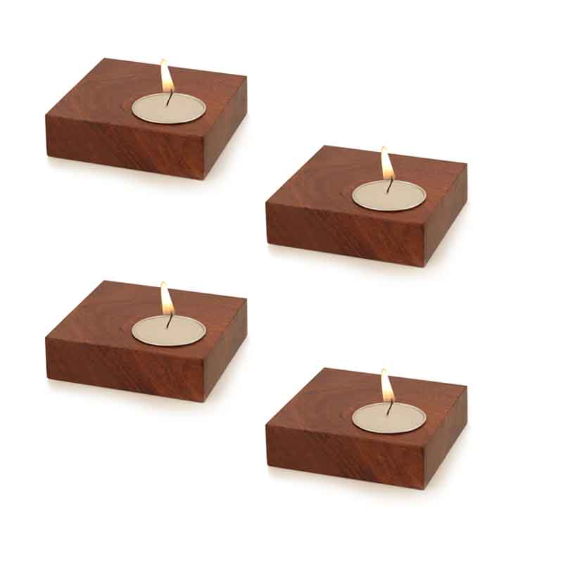 Moorni Cuboidal Tea Light Holder in Sheesham Wood - Set of 4