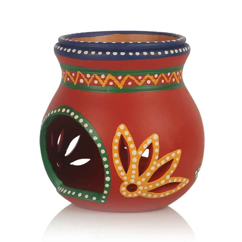Moorni Terracotta Red Handpainted Aroma Diffuser Set of 2