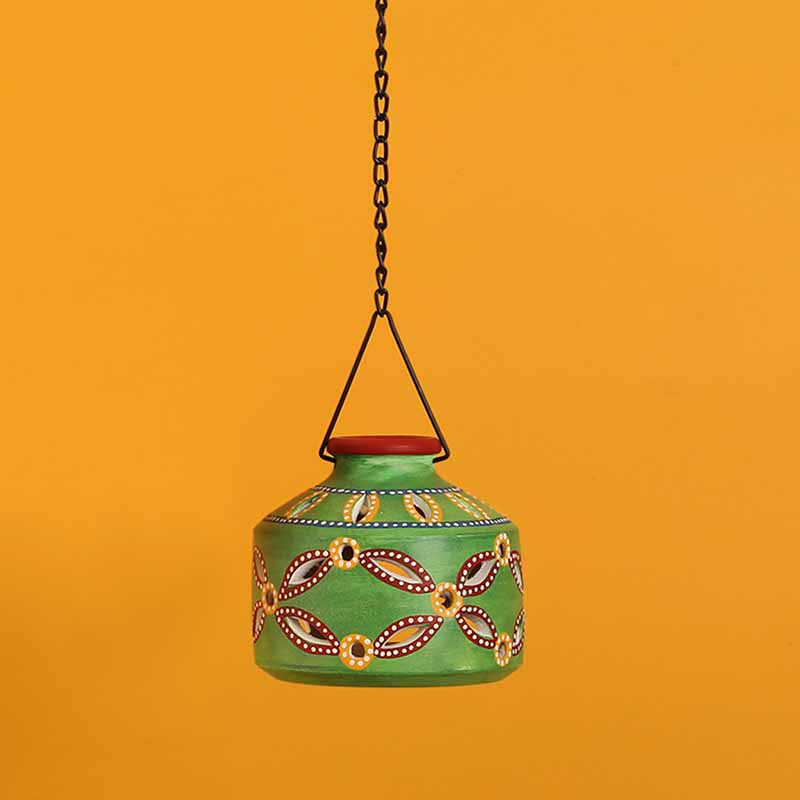 Moorni Hut Shaped Terracotta Hanging Tea-Light Holder In Shamrock Green