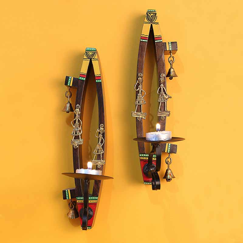 Moorni Tribal Boats Dhokra Figurines Tea-Light Holders In Teak Wood (Set Of 2)