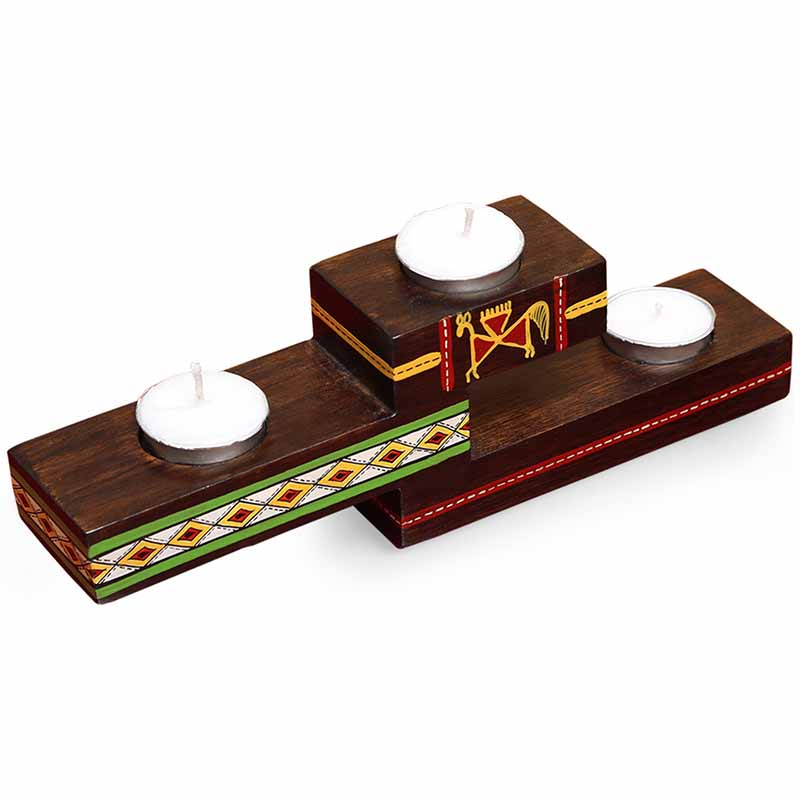 Moorni Three-Step Glow Hand-Painted Tea-Light Holders In Teak Wood