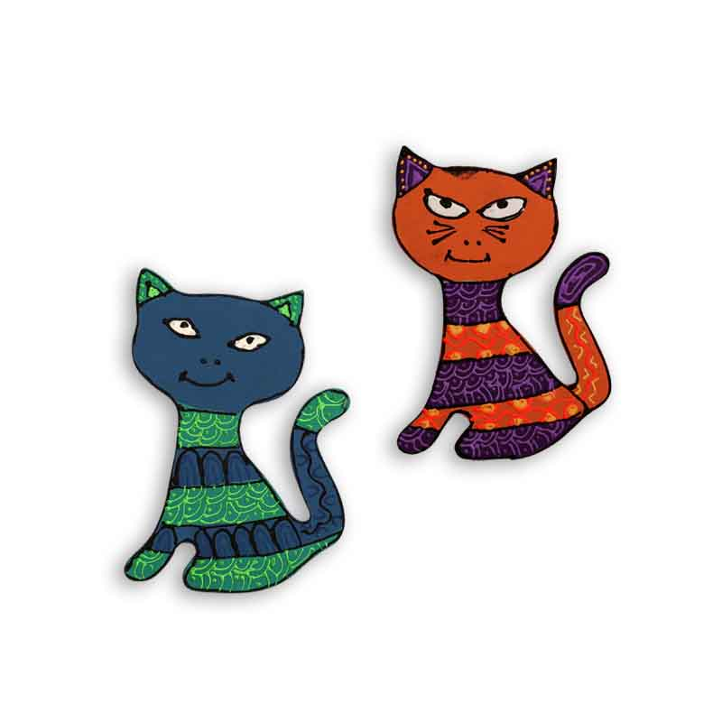 Moorni Handpainted Cat Fridge Magnet Set