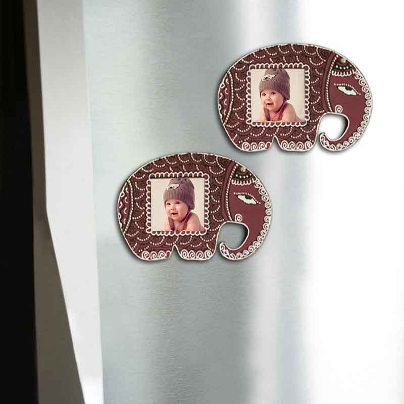 Moorni Handpainted Elephant Fridge Magnet Cum Photoframe Set