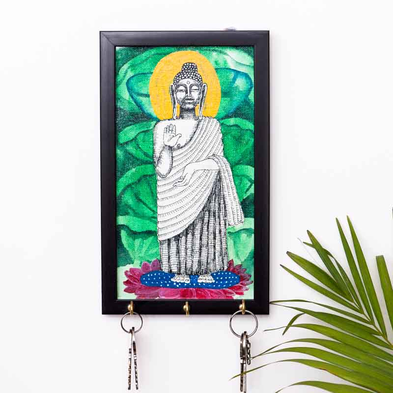 Moorni Lord Buddha Canvas Handapinted Key Holder - EL-012-022