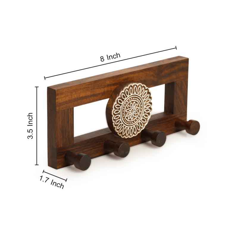 Moorni Flower Block Key Holder in Sheesham Wood
