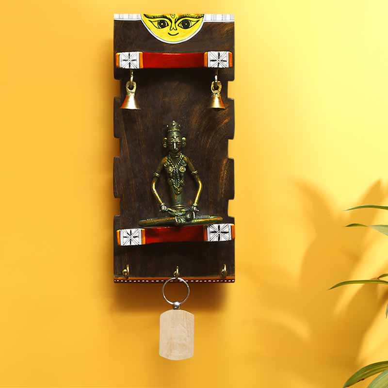 Moorni Brass-Man On Wood Madhubani Wooden Key Holder With Dhokra Art (3 Hooks)