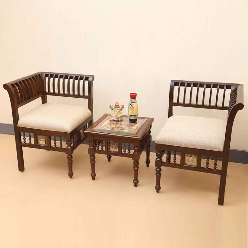 Moorni Teak Wood L Shaped Living Room Chair and Table Set in Walnut Brown