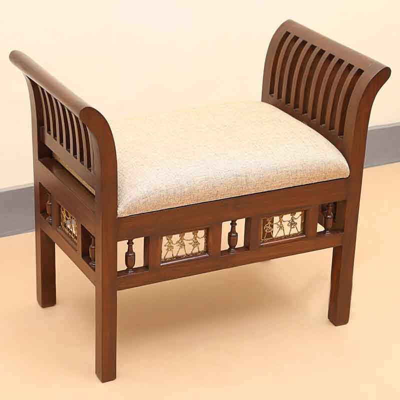 Moorni Teak Wood Royal Seating Stool with Dhokra Work in Walnut Brown
