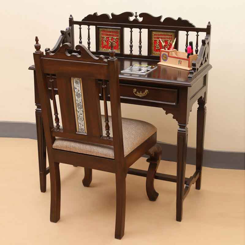 Moorni Teak Wood Maharaja Writing Desk and Chair with Dhokra and Warli Work in Walnut Brown