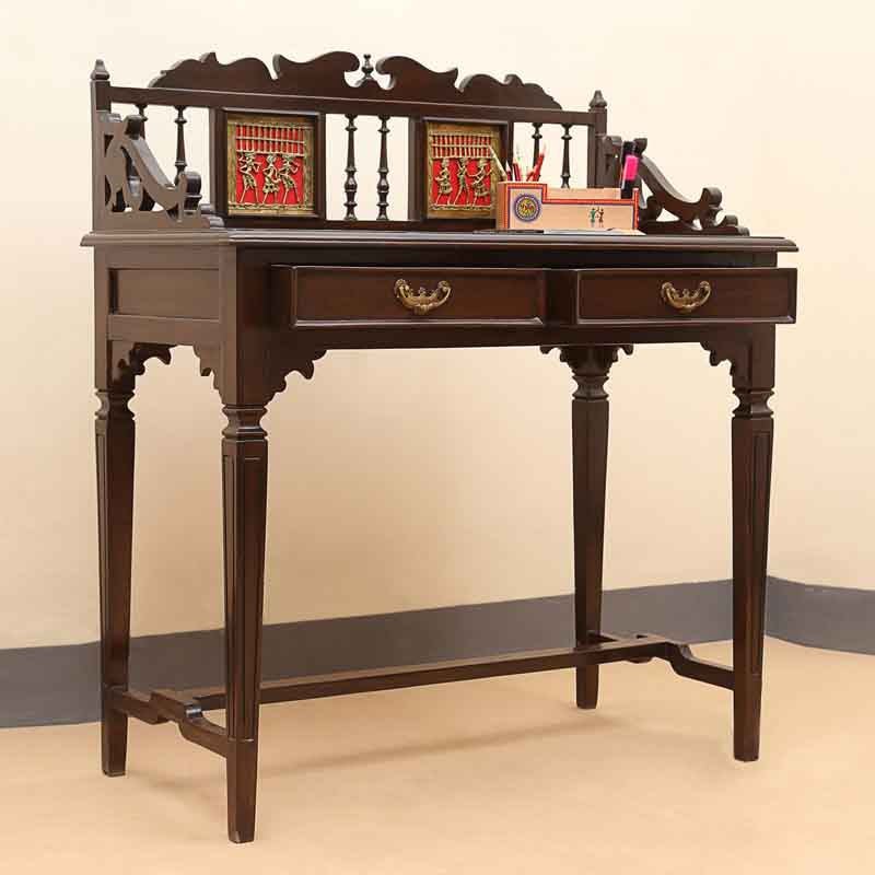 Moorni Teak Wood Maharaja Writing Desk with Dhokra Work in Walnut Brown