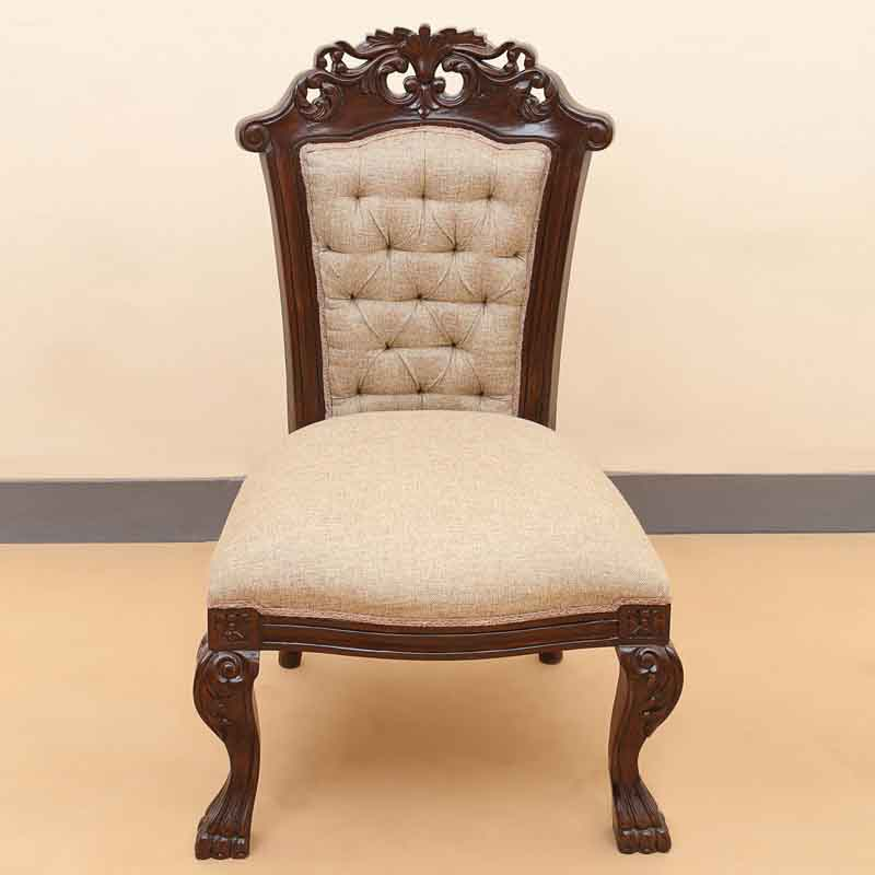 Moorni Teak Wood Royal Wooden Engraved Lions Chair in Walnut Brown