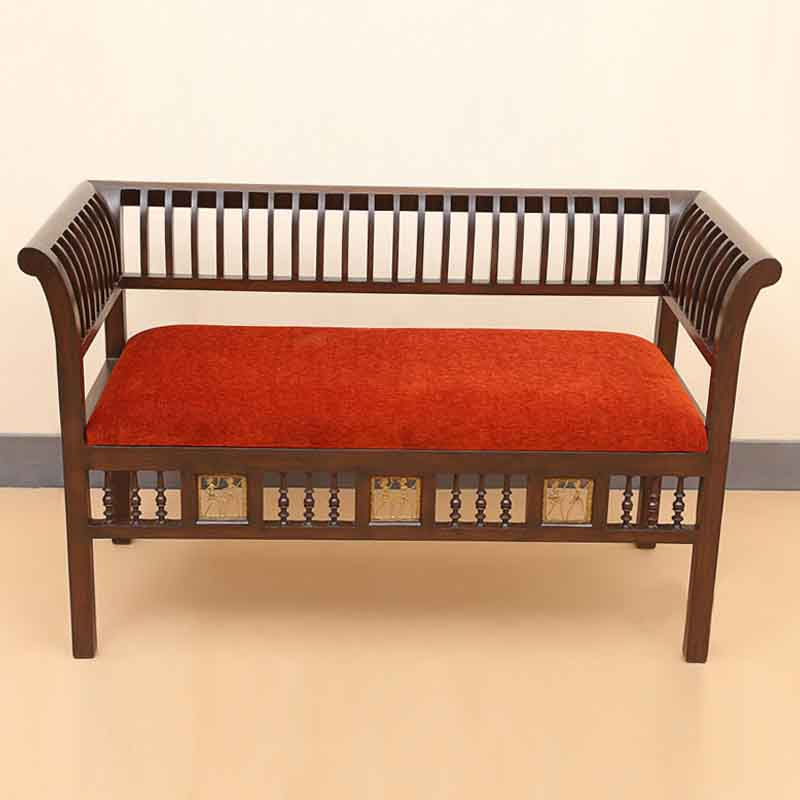 Moorni Elegant Teak Wood Royal 2 Seater Sofa with Dhokra Work in Walnut Brown