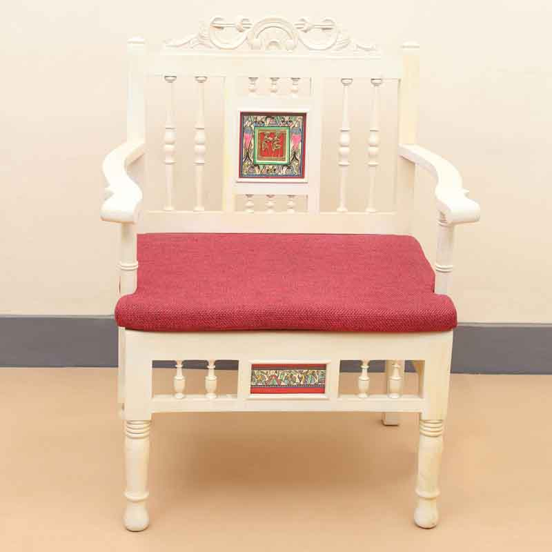 Moorni Teak Wood Modern Living Room Furniture Set with Dhokra & Warli Work in Creamish