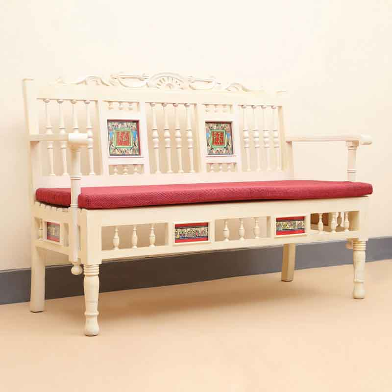 Moorni Teak Wood Modern Living Room Sofa with Dhokra and Warli Work in Creamish White