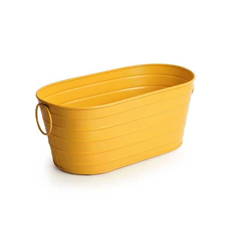Moorni Glossy Yellow Hand-Painted Metal Floor Cum Table Planter Pot