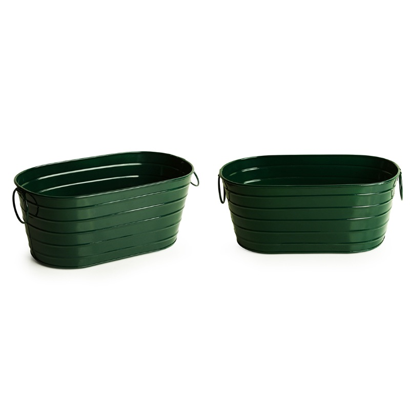 Moorni Emerald Green Hand-Painted Floor Cum Table Planters Pot (Set Of 2)
