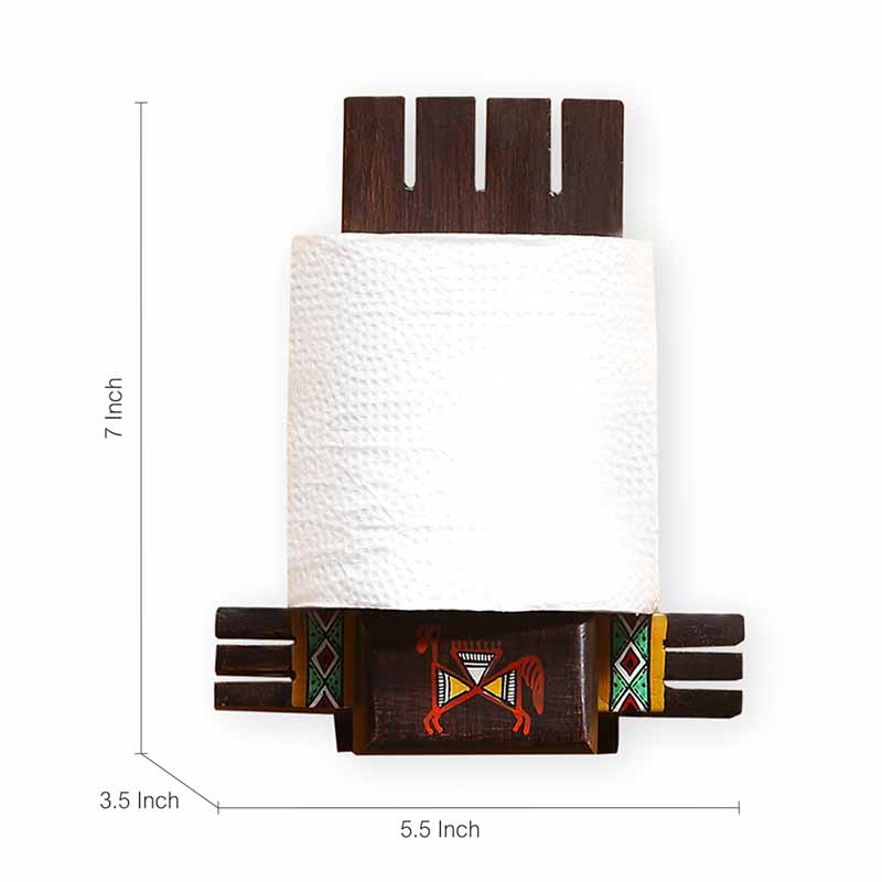 Moorni Vibrantly Warli Cross Joint Hand-Painted Tissue Roll Holder In Teak Wood - EL-022-007