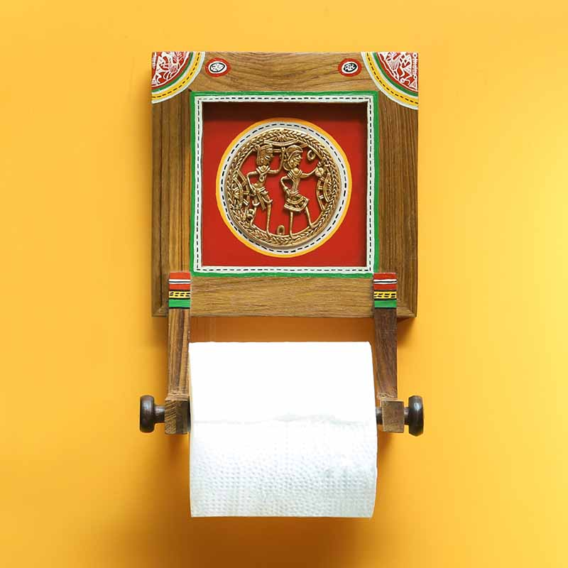 Moorni Brass-y On Wood Warli Dhokra Tissue Roll Holder In Sheesham Wood - EL-022-009