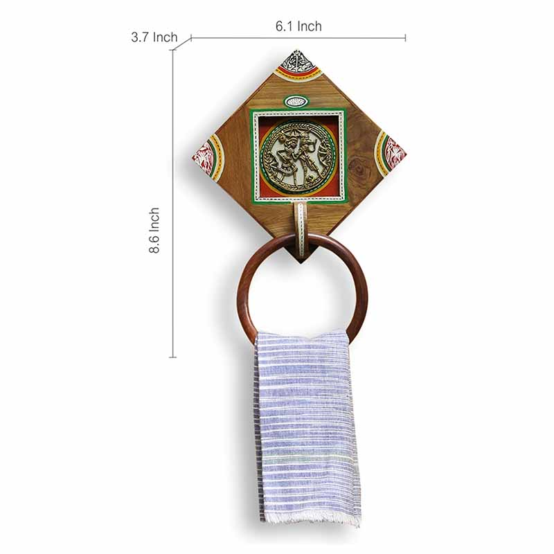 Moorni Brass-y On Wood Warli Dhokra Towel Holder In Sheesham Wood - EL-022-010