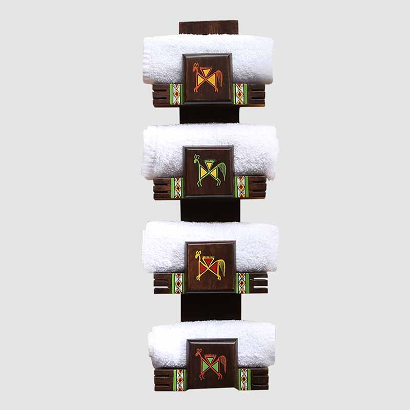Moorni Wall Trinklet Warli Hand-Painted Towel Holder In Teak Wood (4 Shelves) - EL-022-011