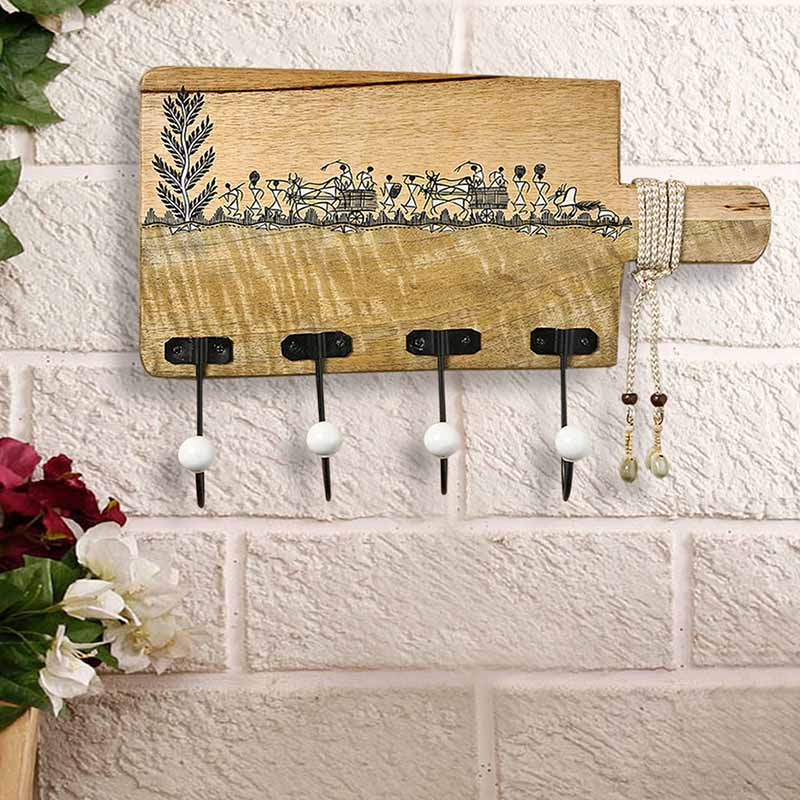 Moorni Whitwewood Canvas Wall Cloth Hanger With Warli Hand-Painting & Jute Dori - EL-022-013