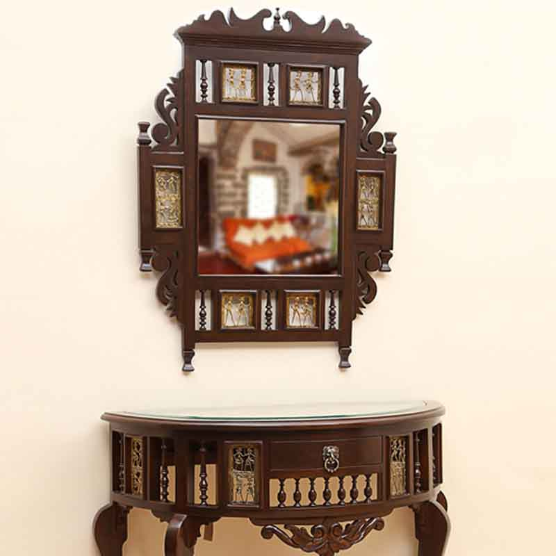 Moorni Teak Wood Maharaja Wall Mirror with Dhokra Work in Walnut Brown