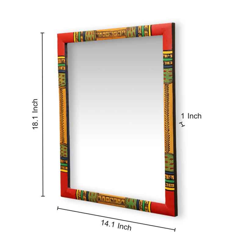 Moorni Wooden Ethnic Wall Mirror with Warli Art - EL-023-014