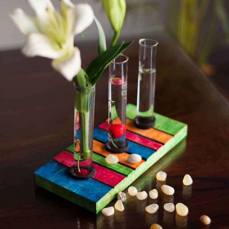 Moorni Quirky Multicoloured Wooden Test Tube Planter - EL-024-001