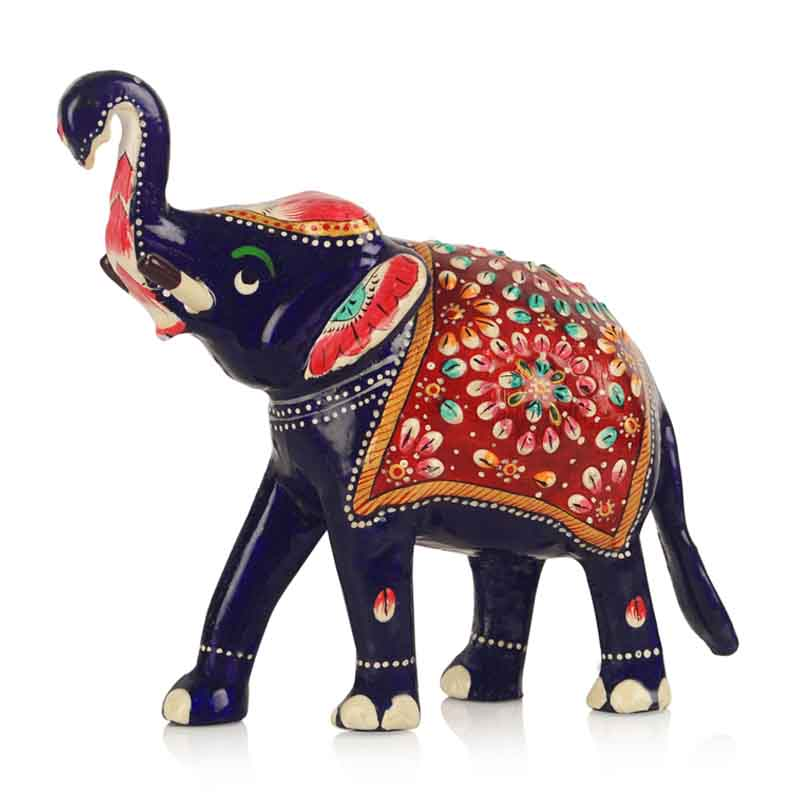 Moorni Meenakari Royal Blue Elephant Family Handenamelled in Metal - EL-025-004