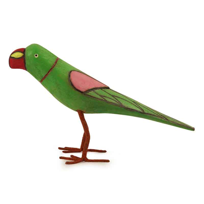 Moorni Handmade and Hand Painted Parrot Family Showpiece in Wood - EL-025-010
