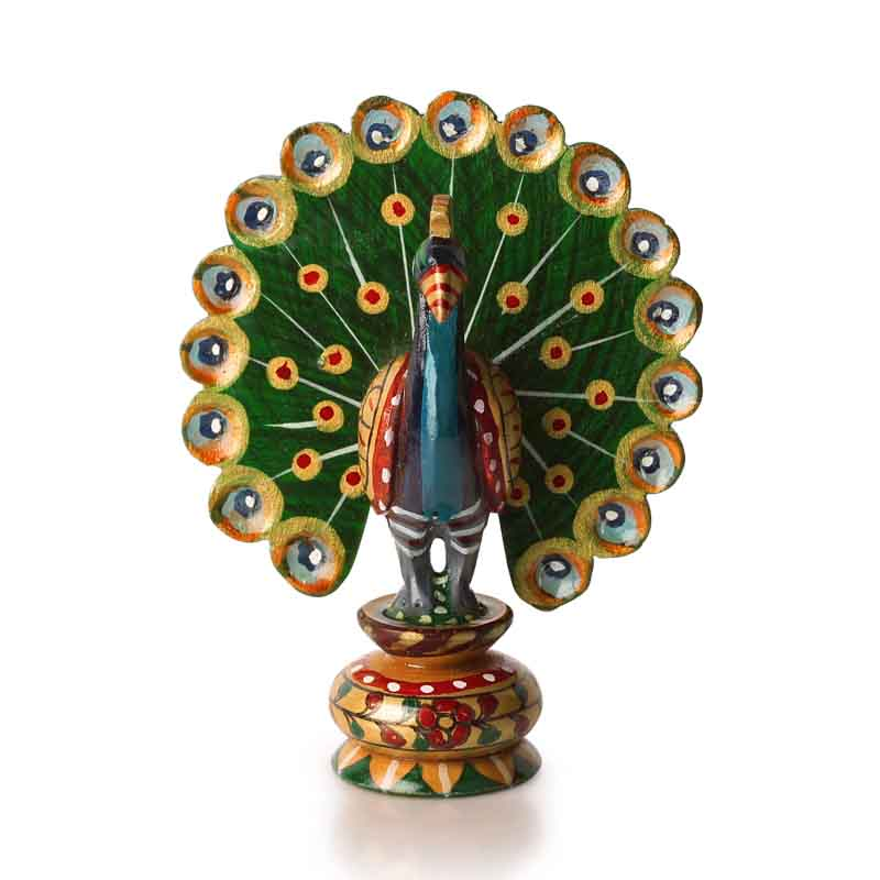 Moorni Handmade and Hand Painted Wooden Peacock Showpiece - EL-025-015